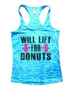 Will Lift For Donuts Burnout Tank Top By Funny Threadz Funny Shirt Small / Tahiti Blue