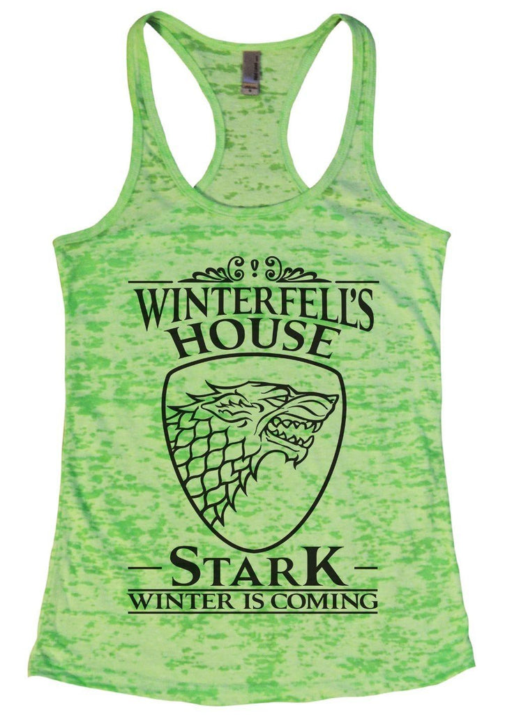 Winterfell's House Stark Winter Is Coming Burnout Tank Top By Funny Threadz Funny Shirt Small / Neon Green
