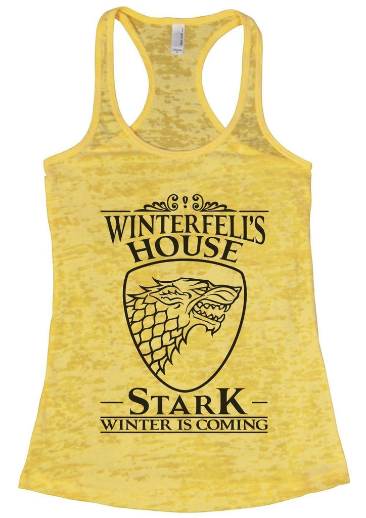 Winterfell's House Stark Winter Is Coming Burnout Tank Top By Funny Threadz Funny Shirt Small / Yellow