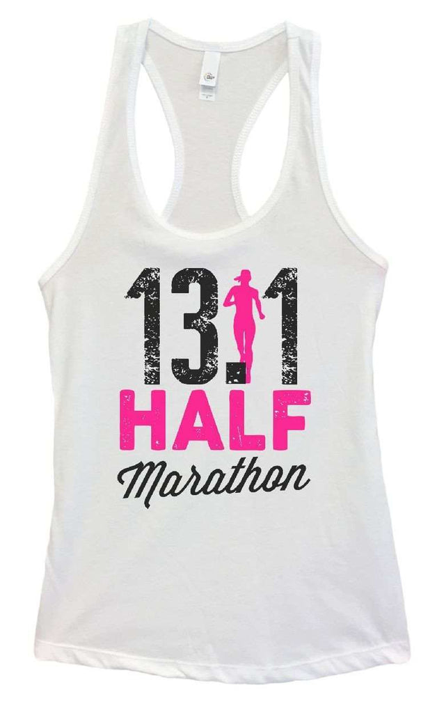 Womens 13.1 Half Marathon Grapahic Design Fitted Tank Top Funny Shirt Small / White