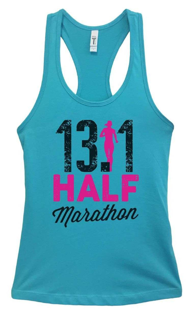Womens 13.1 Half Marathon Grapahic Design Fitted Tank Top Funny Shirt Small / Sky Blue