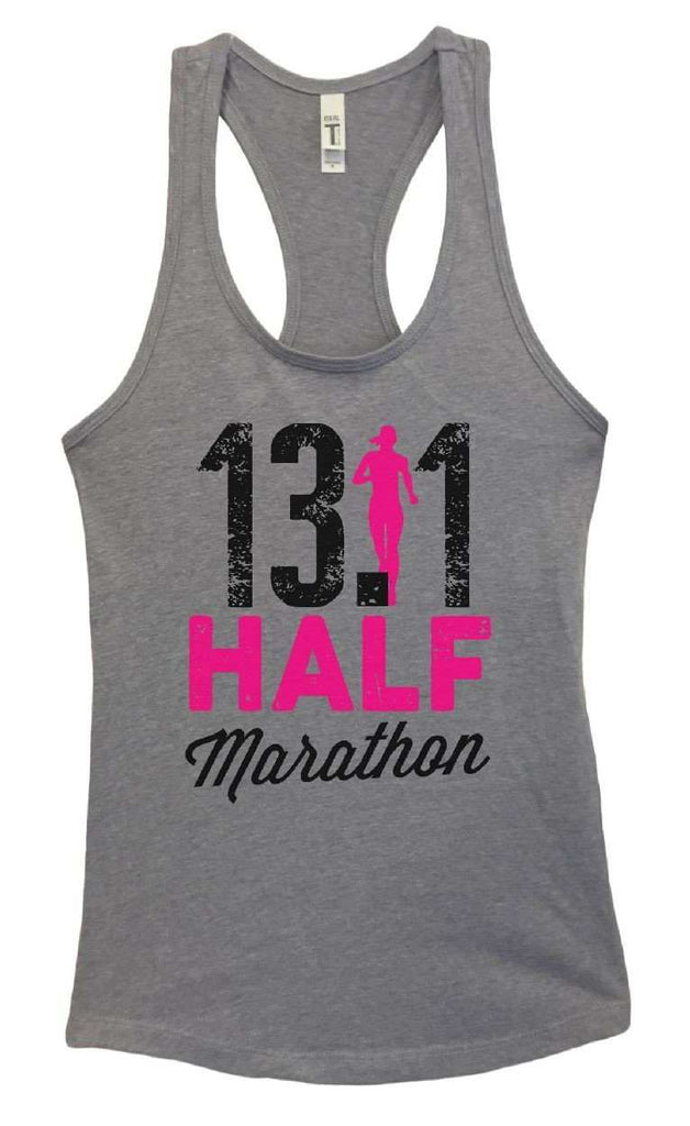 Womens 13.1 Half Marathon Grapahic Design Fitted Tank Top Funny Shirt Small / Heather Grey