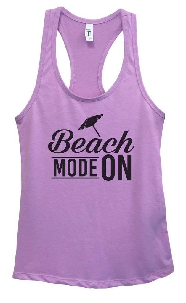 Womens Beach Mode On Grapahic Design Fitted Tank Top Funny Shirt Small / Lavender