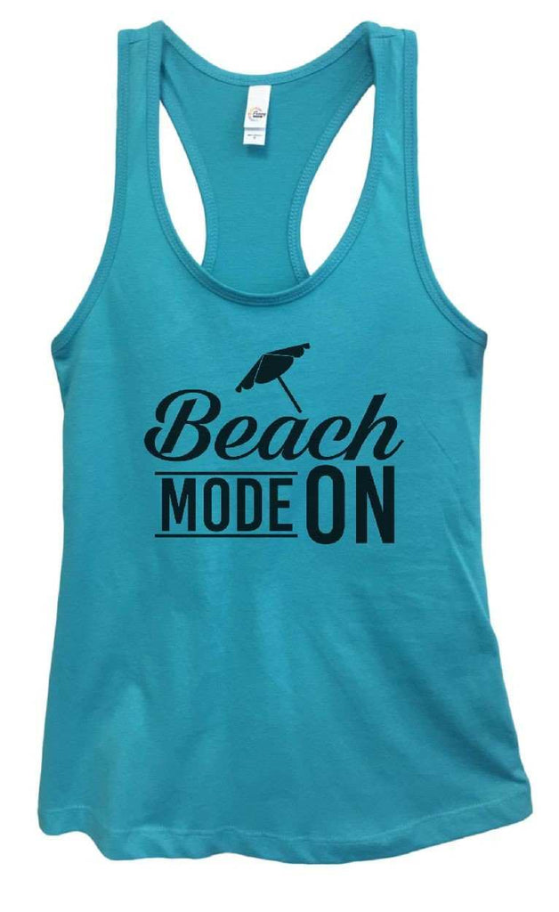 Womens Beach Mode On Grapahic Design Fitted Tank Top Funny Shirt Small / Sky Blue