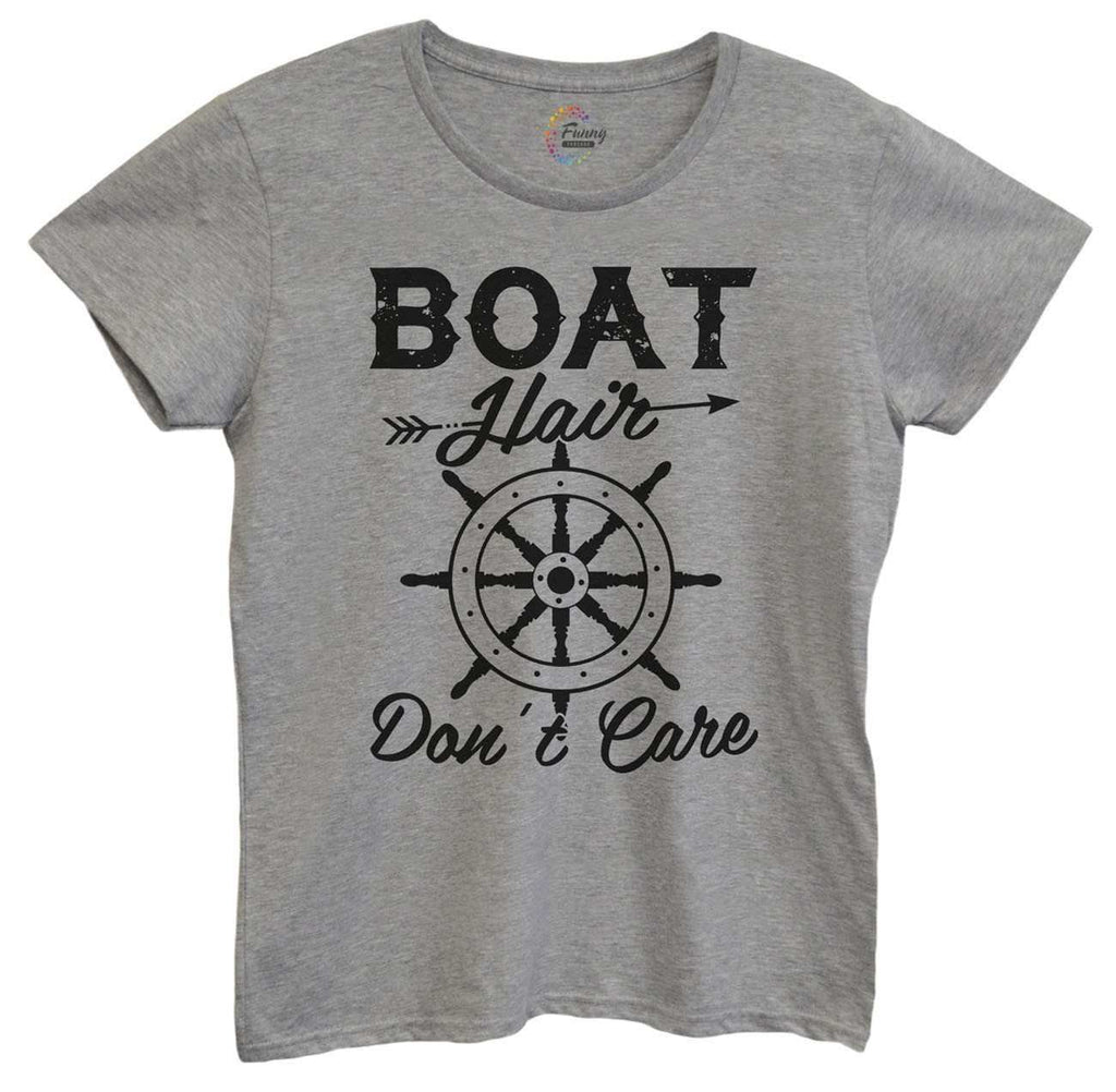 Womens Boat Hair Don't Care Tshirt Funny Shirt Small / Grey Tshirt