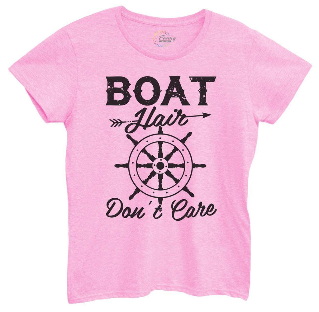 Womens Boat Hair Don't Care Tshirt Funny Shirt Small / Light Pink Tshirt