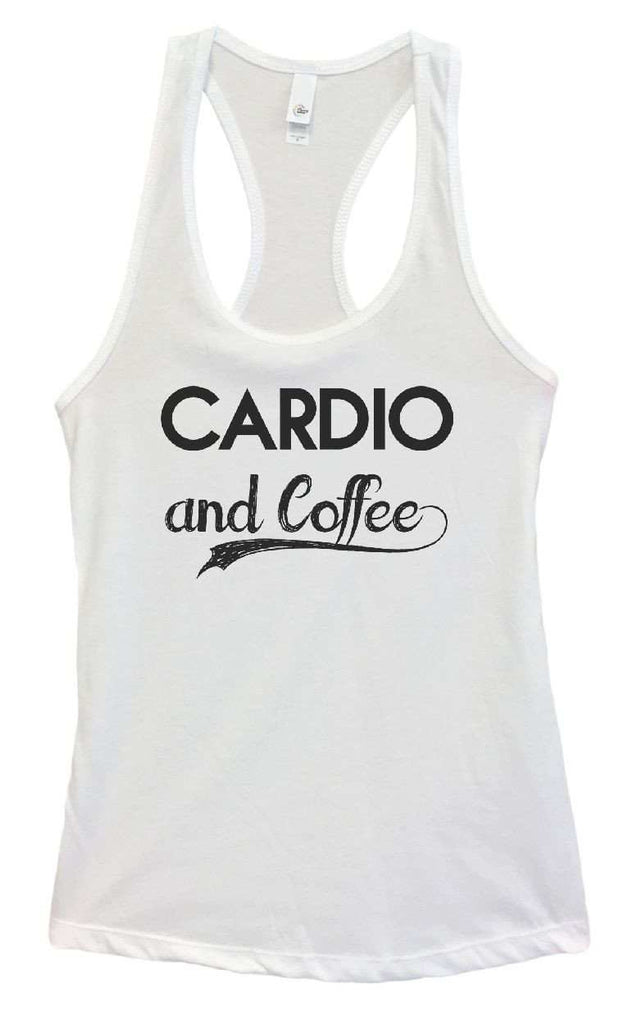 Womens Cardio And Coffee Grapahic Design Fitted Tank Top Funny Shirt Small / White