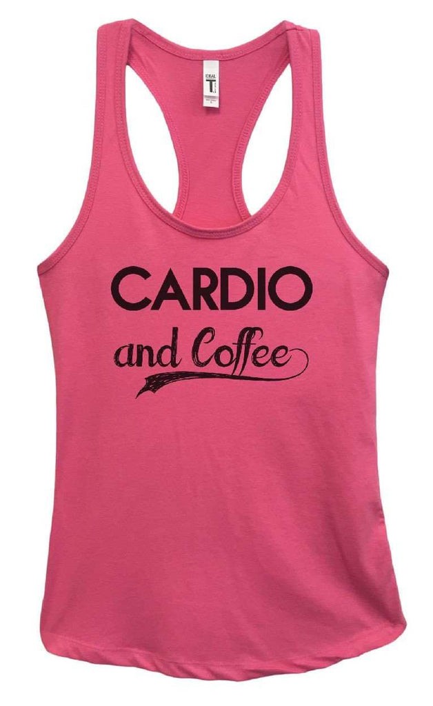 Womens Cardio And Coffee Grapahic Design Fitted Tank Top Funny Shirt Small / Fuchsia