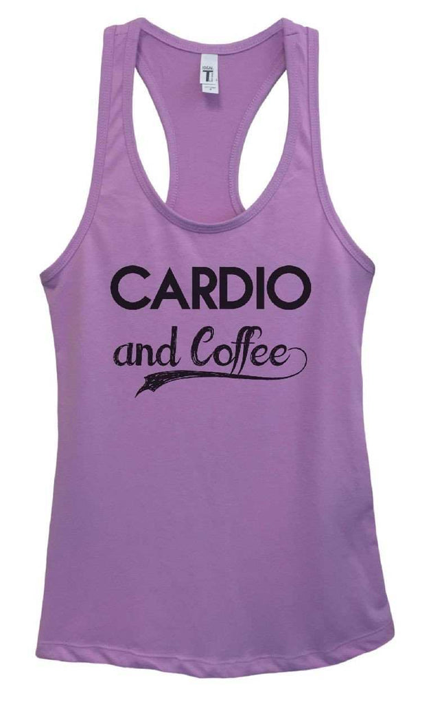 Womens Cardio And Coffee Grapahic Design Fitted Tank Top Funny Shirt Small / Lavender