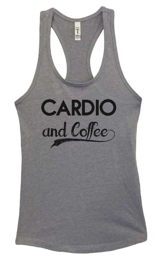 Womens Cardio And Coffee Grapahic Design Fitted Tank Top Funny Shirt Small / Heather Grey