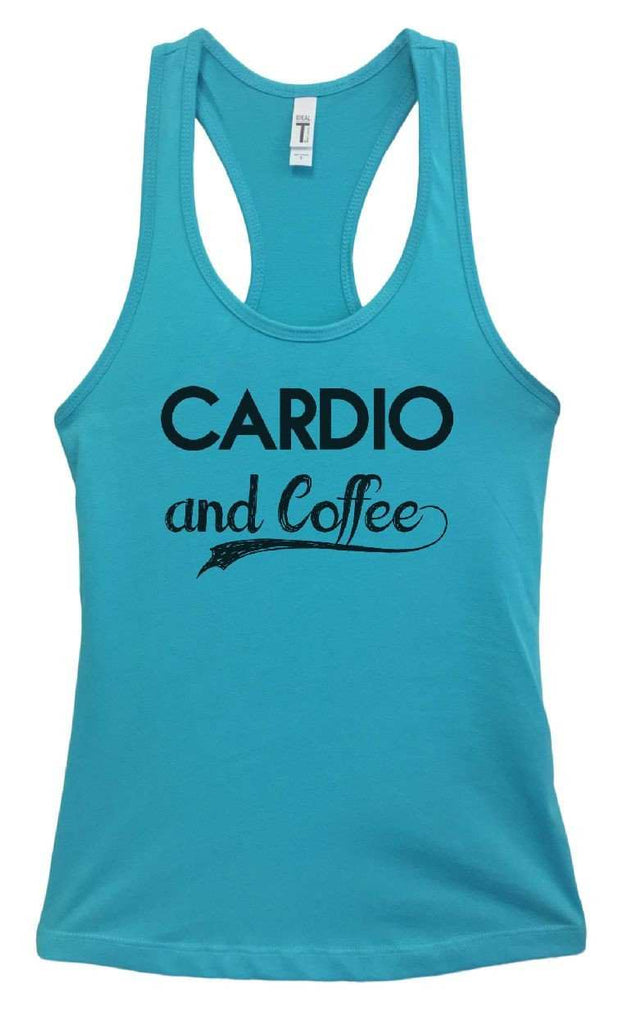 Womens Cardio And Coffee Grapahic Design Fitted Tank Top Funny Shirt Small / Sky Blue