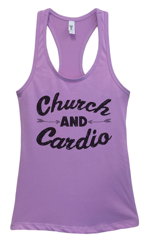 Womens Church And Cardio Grapahic Design Fitted Tank Top - FunnyThreadz.com
