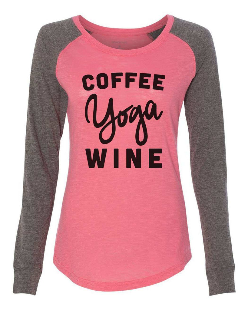 "Womens ""Coffee Yoga Wine"" Long Sleeve Elbow Patch Contrast Shirt Funny Shirt X-Small / Peach"