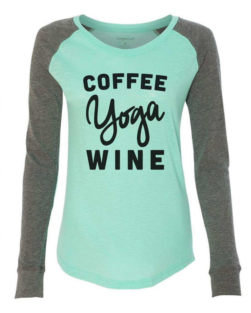 "Womens ""Coffee Yoga Wine"" Long Sleeve Elbow Patch Contrast Shirt Funny Shirt X-Small / Mint"