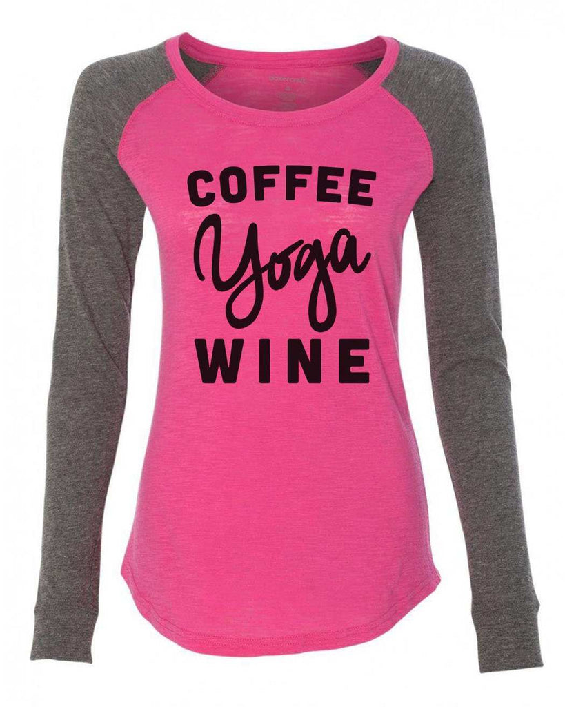 "Womens ""Coffee Yoga Wine"" Long Sleeve Elbow Patch Contrast Shirt Funny Shirt X-Small / Pink"
