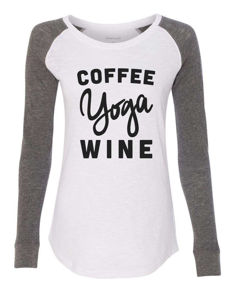 "Womens ""Coffee Yoga Wine"" Long Sleeve Elbow Patch Contrast Shirt Funny Shirt X-Small / White"