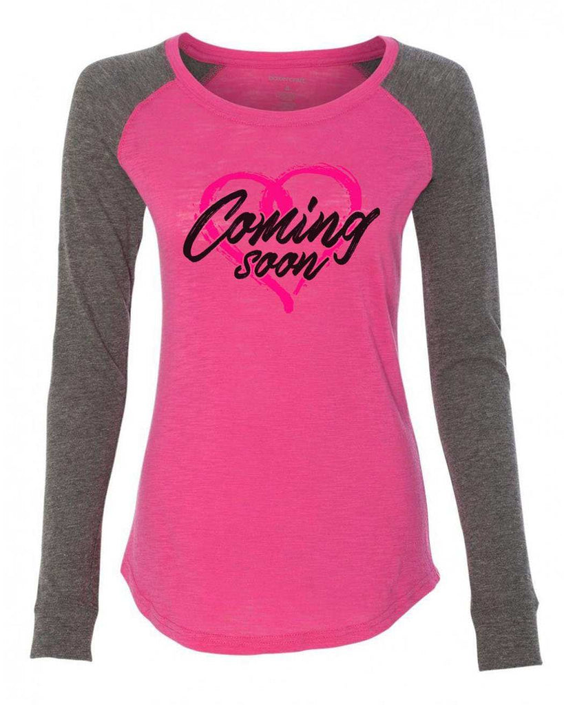 "Womens ""Coming Soon"" Long Sleeve Elbow Patch Contrast Shirt Funny Shirt X-Small / Pink"