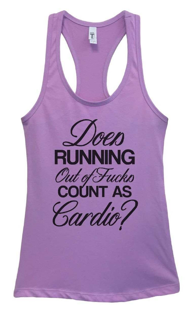 Womens Does Running Out Of Fucks Count As Cardio? Grapahic Design Fitted Tank Top Funny Shirt Small / Lavender