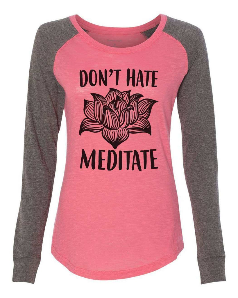 "Womens ""Don't Hate Meditate"" Long Sleeve Elbow Patch Contrast Shirt Funny Shirt X-Small / Peach"