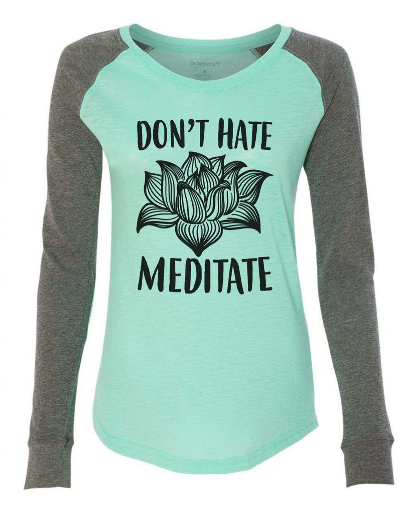 "Womens ""Don't Hate Meditate"" Long Sleeve Elbow Patch Contrast Shirt Funny Shirt X-Small / Mint"