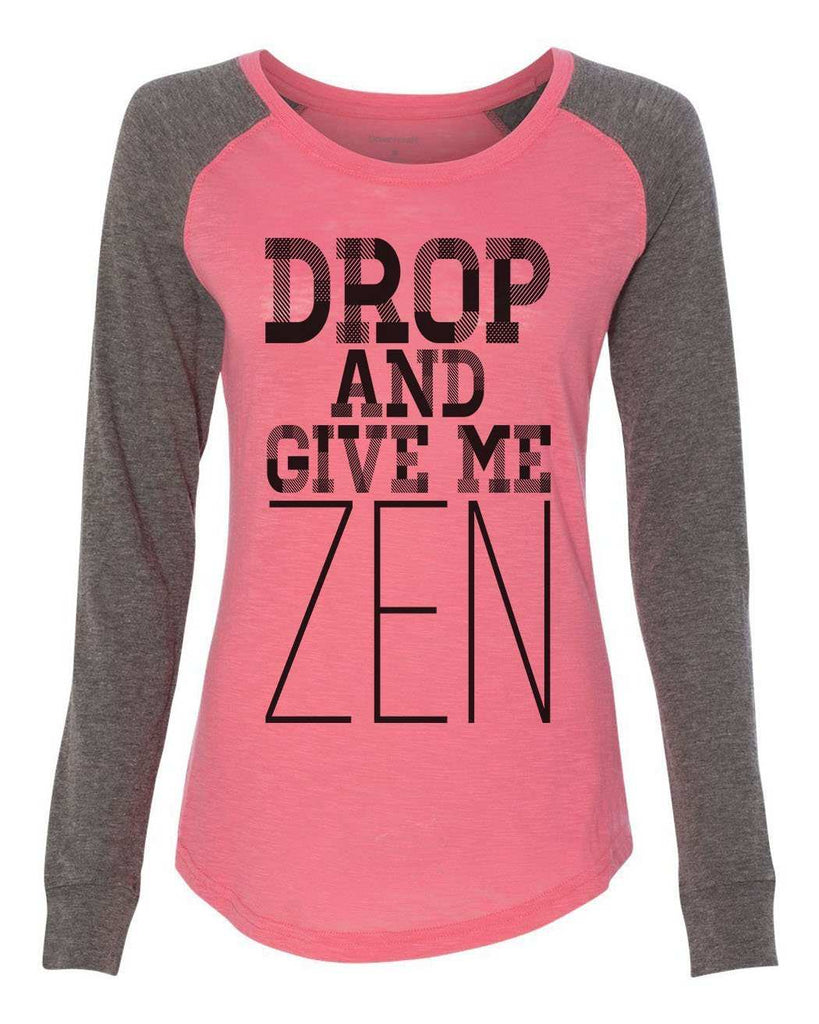 "Womens ""Drop And Give Me Zen"" Long Sleeve Elbow Patch Contrast Shirt Funny Shirt X-Small / Peach"