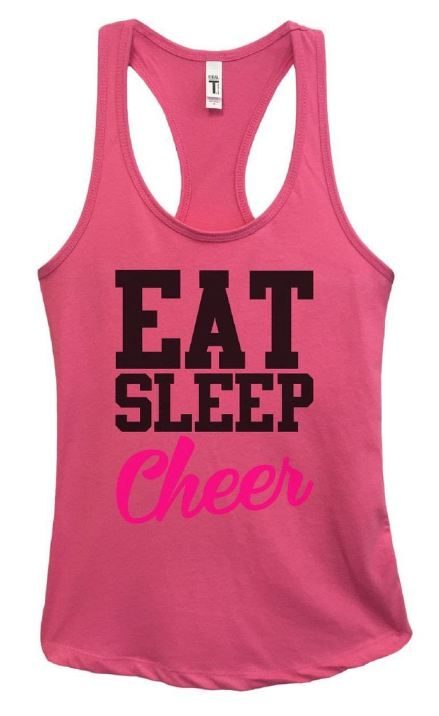 Womens Eat Sleep Cheer Grapahic Design Fitted Tank Top Funny Shirt Small / Fuchsia