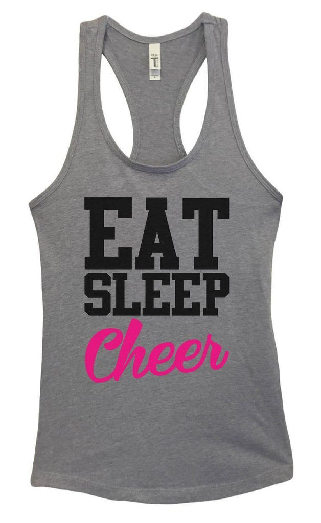 Womens Eat Sleep Cheer Grapahic Design Fitted Tank Top Funny Shirt Small / Heather Grey