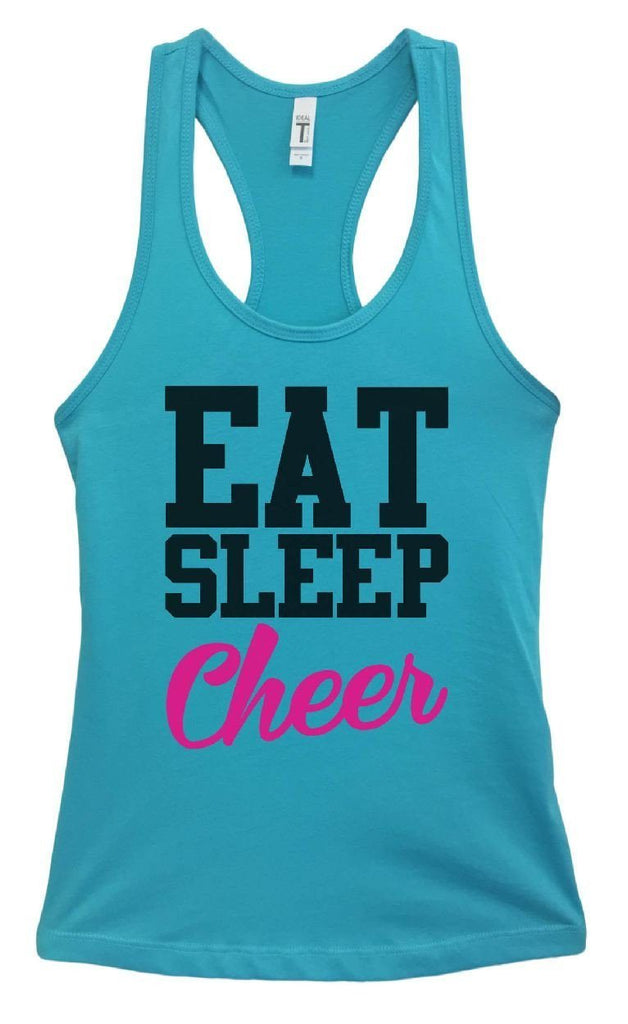 Womens Eat Sleep Cheer Grapahic Design Fitted Tank Top Funny Shirt Small / Sky Blue