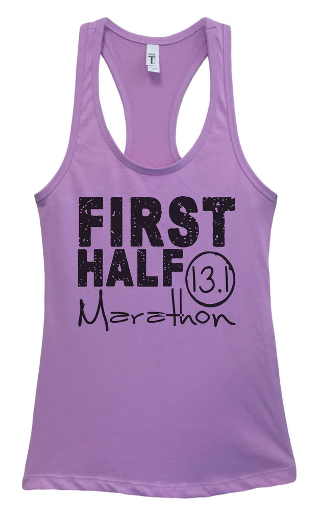 Womens FIRST HALF Marathon Grapahic Design Fitted Tank Top Funny Shirt Small / Lavender