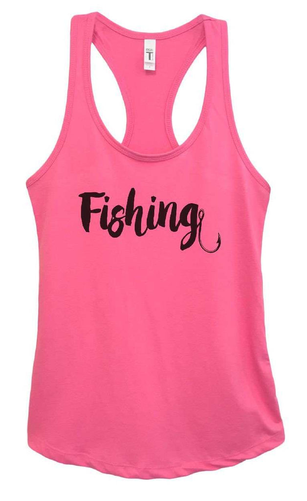 Womens Fishing Grapahic Design Fitted Tank Top Funny Shirt Small / Fuchsia