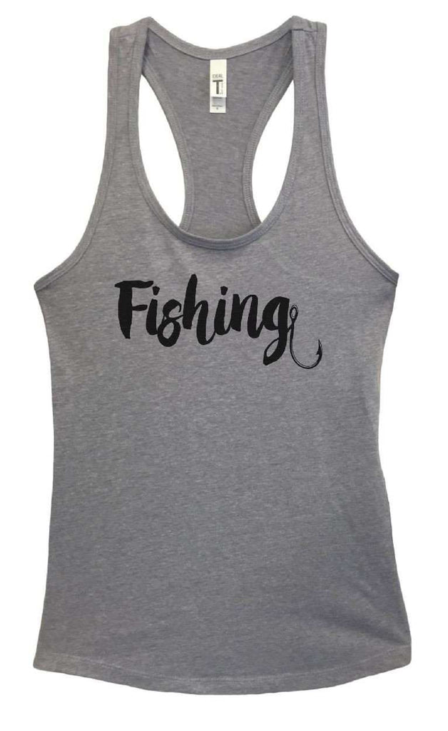 Womens Fishing Grapahic Design Fitted Tank Top Funny Shirt Small / Heather Grey