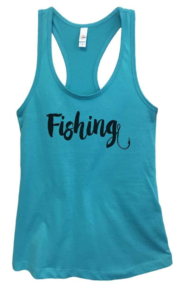 Womens Fishing Grapahic Design Fitted Tank Top Funny Shirt Small / Sky Blue