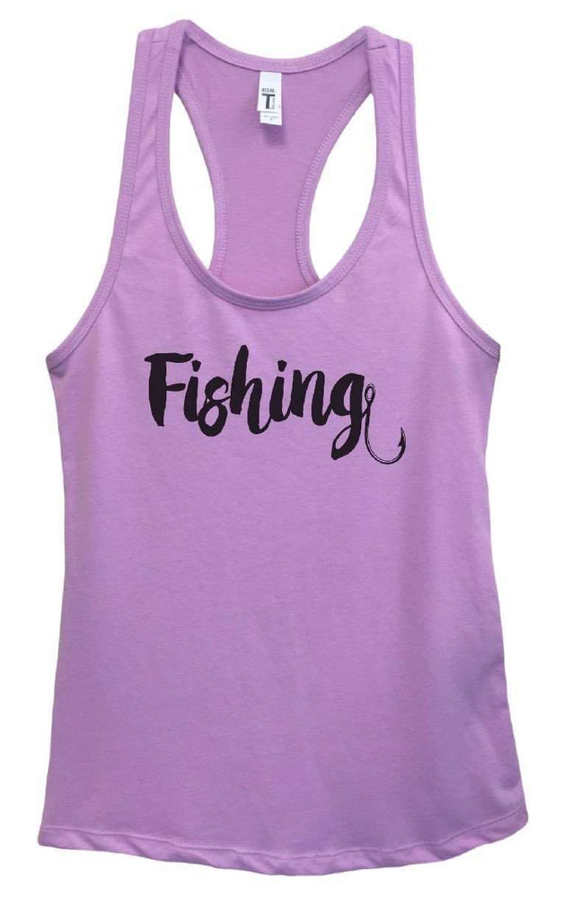 Womens Fishing Grapahic Design Fitted Tank Top Funny Shirt Small / Lavender
