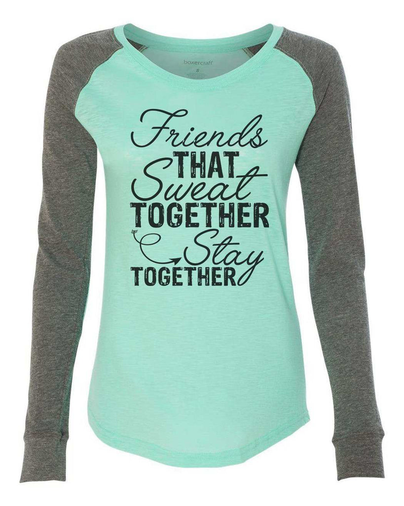 "Womens ""Friends That Sweat Together Stay Together"" Long Sleeve Elbow Patch Contrast Shirt Funny Shirt X-Small / Mint"