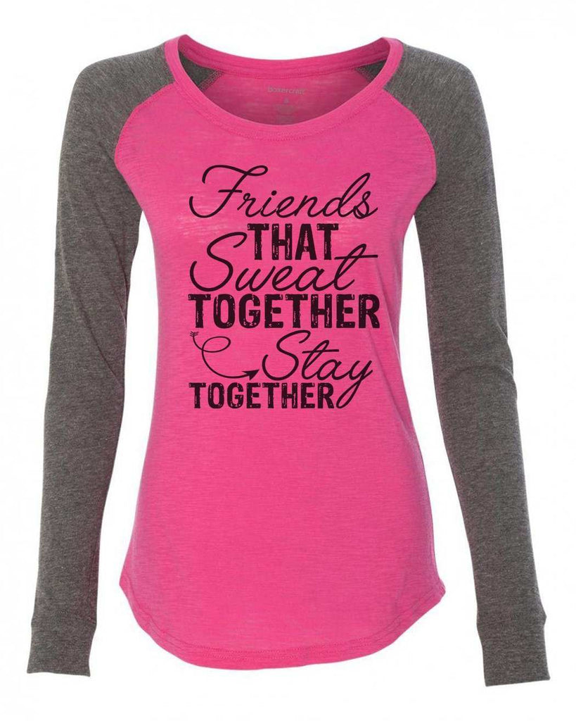 "Womens ""Friends That Sweat Together Stay Together"" Long Sleeve Elbow Patch Contrast Shirt Funny Shirt X-Small / Pink"