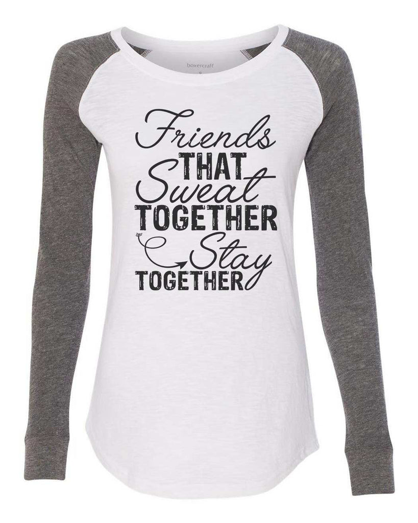 "Womens ""Friends That Sweat Together Stay Together"" Long Sleeve Elbow Patch Contrast Shirt Funny Shirt X-Small / White"