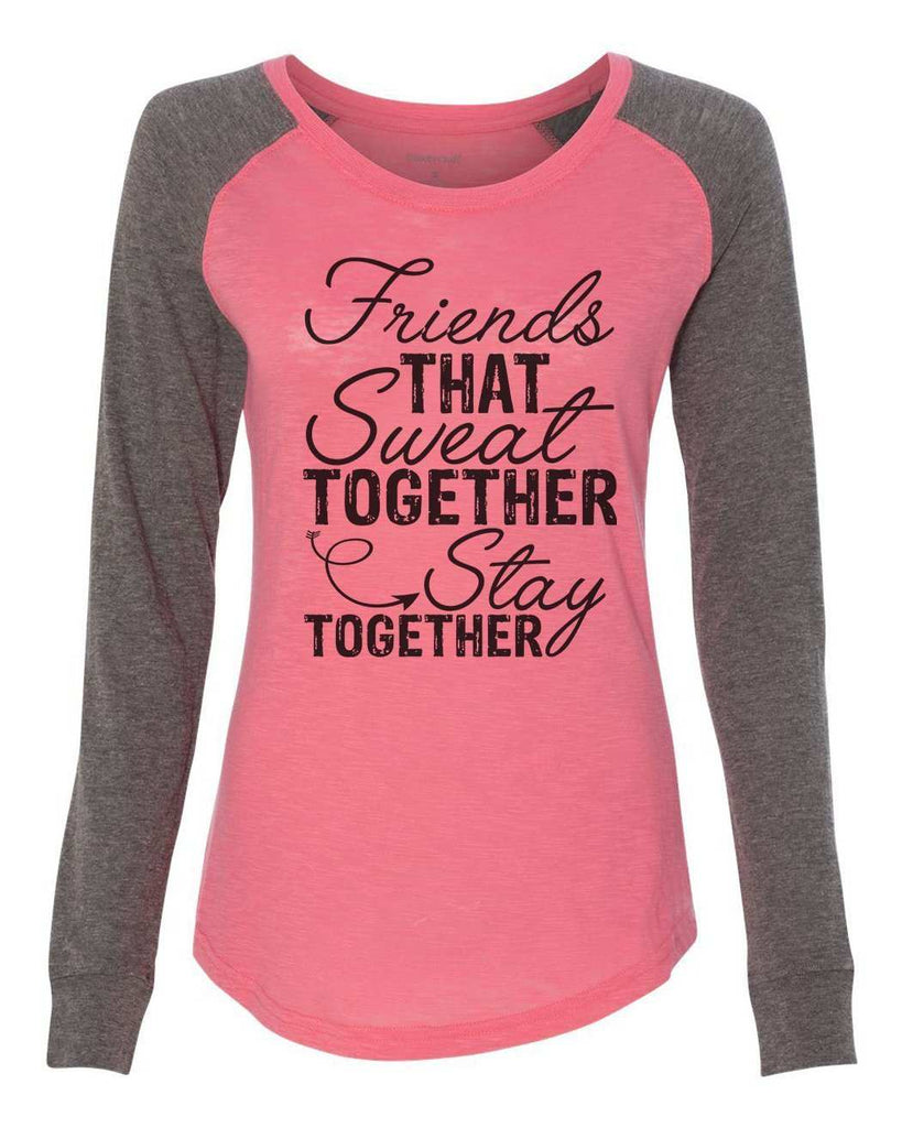 "Womens ""Friends That Sweat Together Stay Together"" Long Sleeve Elbow Patch Contrast Shirt Funny Shirt X-Small / Peach"
