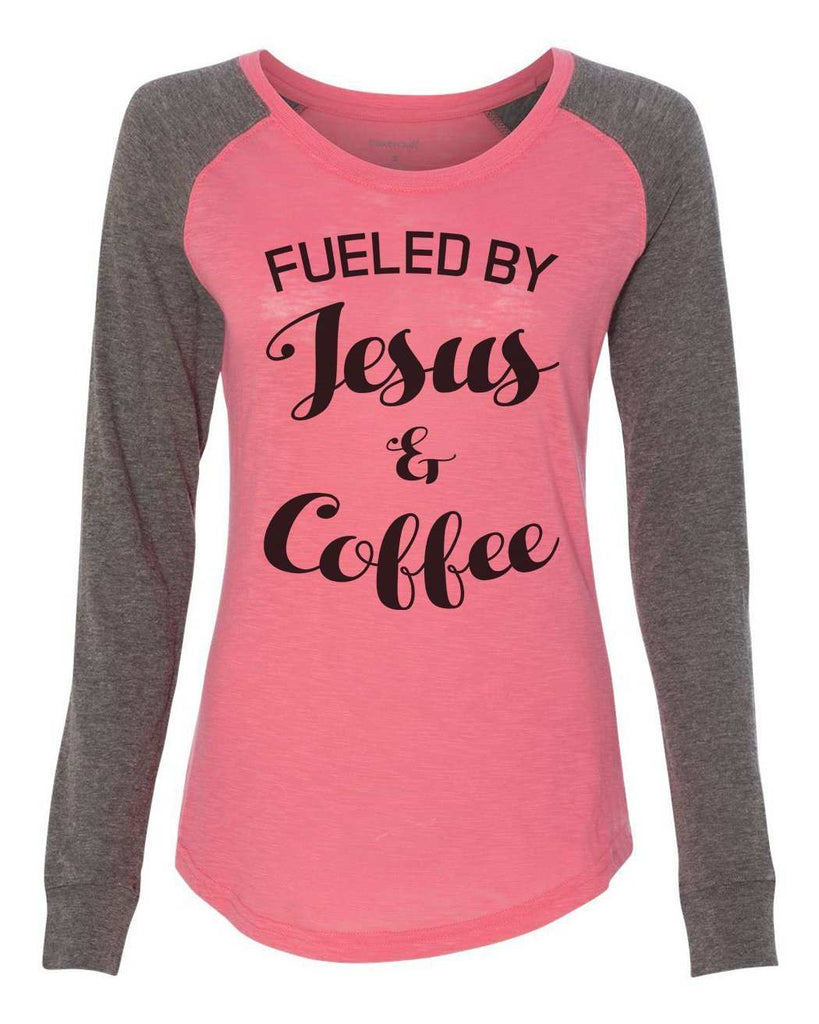 "Womens ""Fueled By Jesus & Coffee"" Long Sleeve Elbow Patch Contrast Shirt Funny Shirt X-Small / Peach"