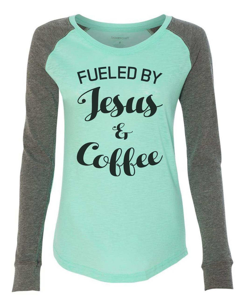 "Womens ""Fueled By Jesus & Coffee"" Long Sleeve Elbow Patch Contrast Shirt Funny Shirt X-Small / Mint"
