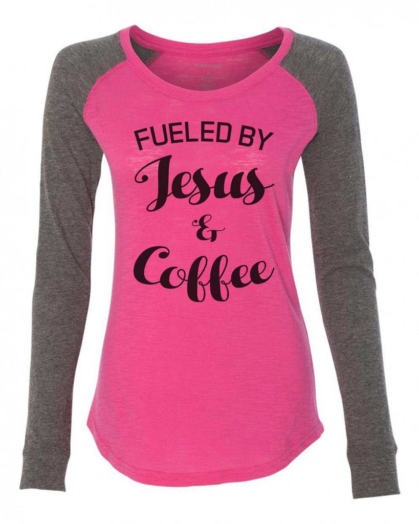 "Womens ""Fueled By Jesus & Coffee"" Long Sleeve Elbow Patch Contrast Shirt Funny Shirt X-Small / Pink"