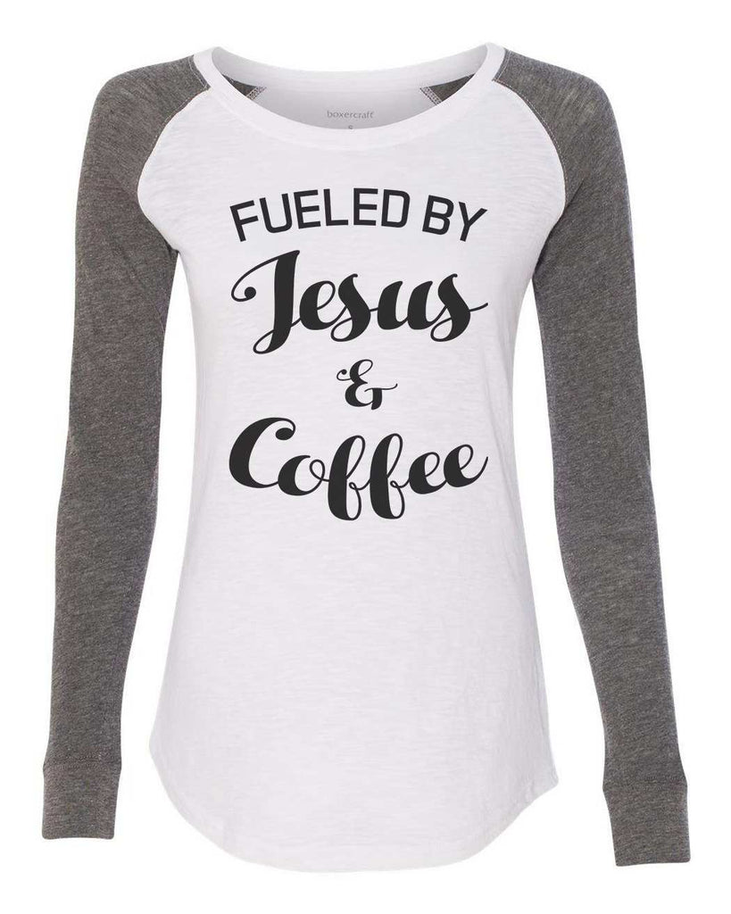 "Womens ""Fueled By Jesus & Coffee"" Long Sleeve Elbow Patch Contrast Shirt Funny Shirt X-Small / White"