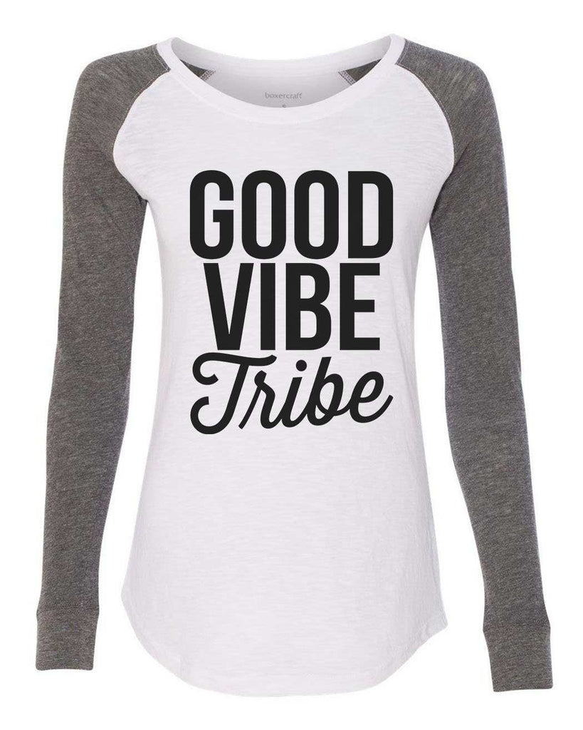 "Womens ""Good Vibe Tribe"" Long Sleeve Elbow Patch Contrast Shirt Funny Shirt X-Small / White"