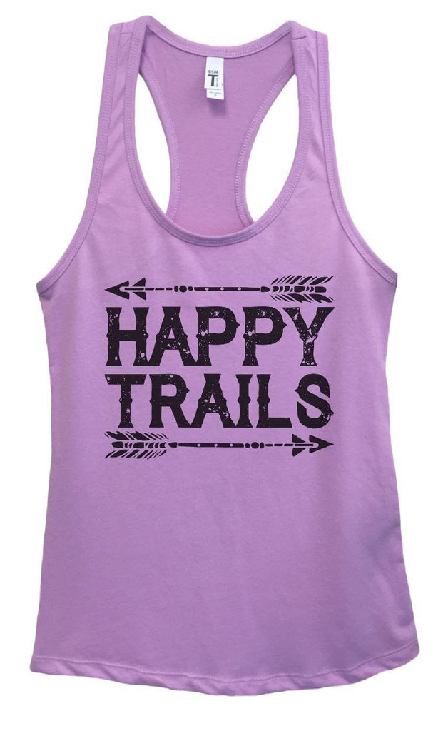 Womens Happy Trails Grapahic Design Fitted Tank Top Funny Shirt Small / Lavender