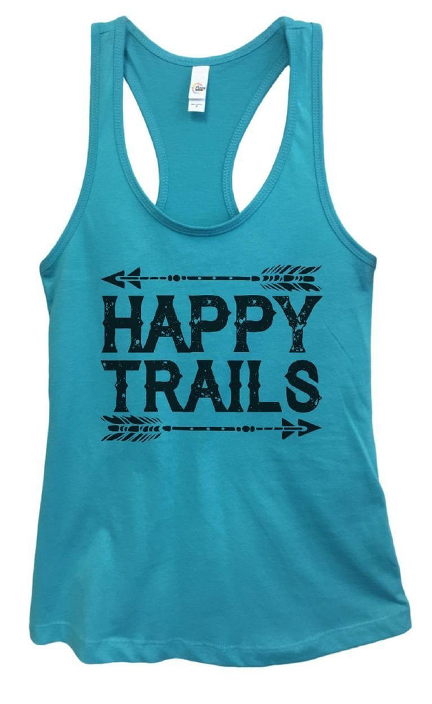 Womens Happy Trails Grapahic Design Fitted Tank Top Funny Shirt Small / Sky Blue