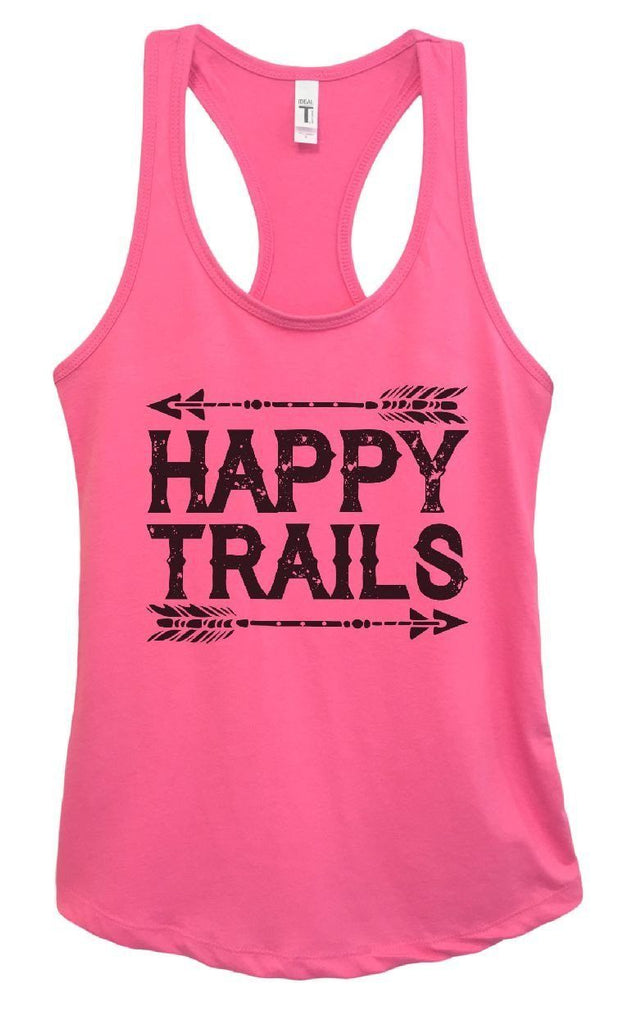Womens Happy Trails Grapahic Design Fitted Tank Top Funny Shirt Small / Fuchsia
