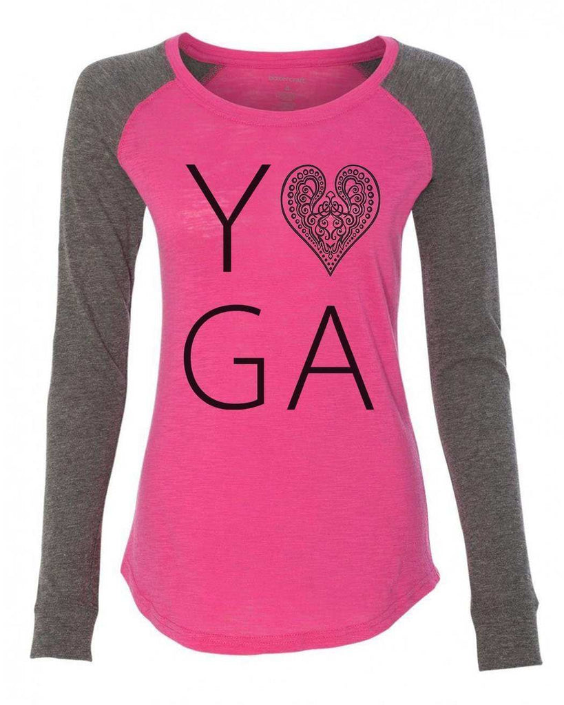 "Womens ""Heart I Love Yoga"" Long Sleeve Elbow Patch Contrast Shirt - FunnyThreadz.com"