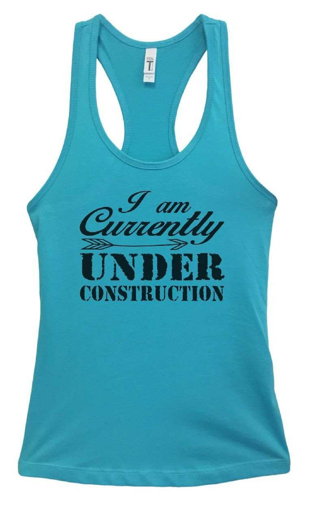 Womens I Am Currently Under Construction Grapahic Design Fitted Tank Top Funny Shirt Small / Sky Blue