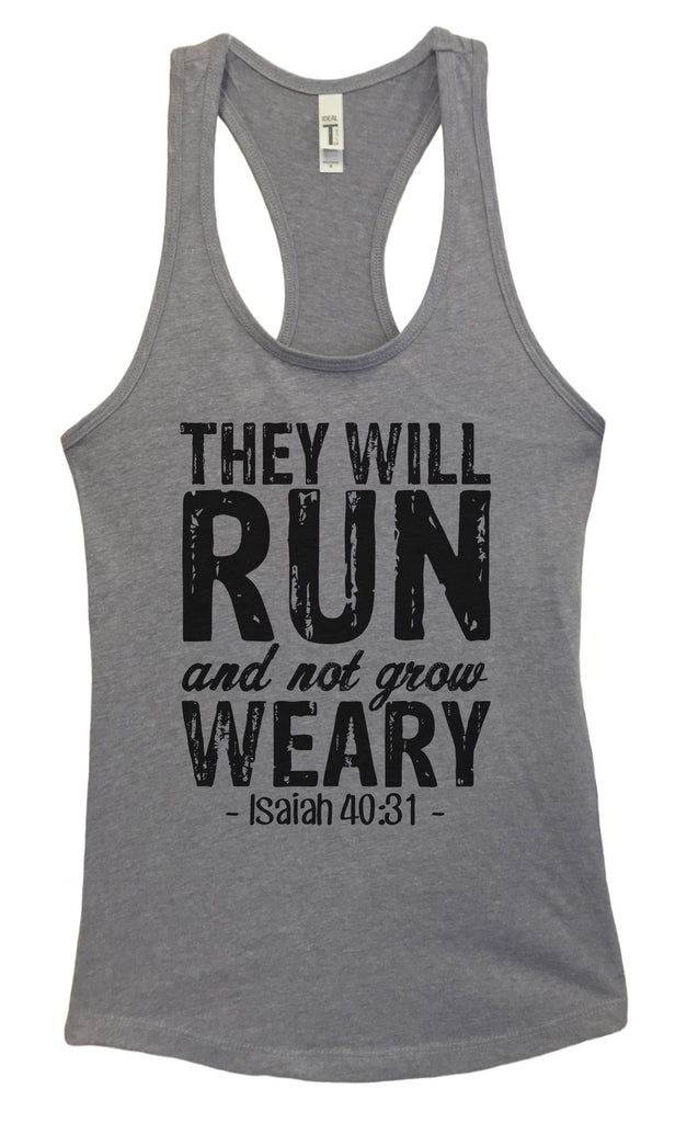 womens they will run and not grow weary grapahic design fitted tank