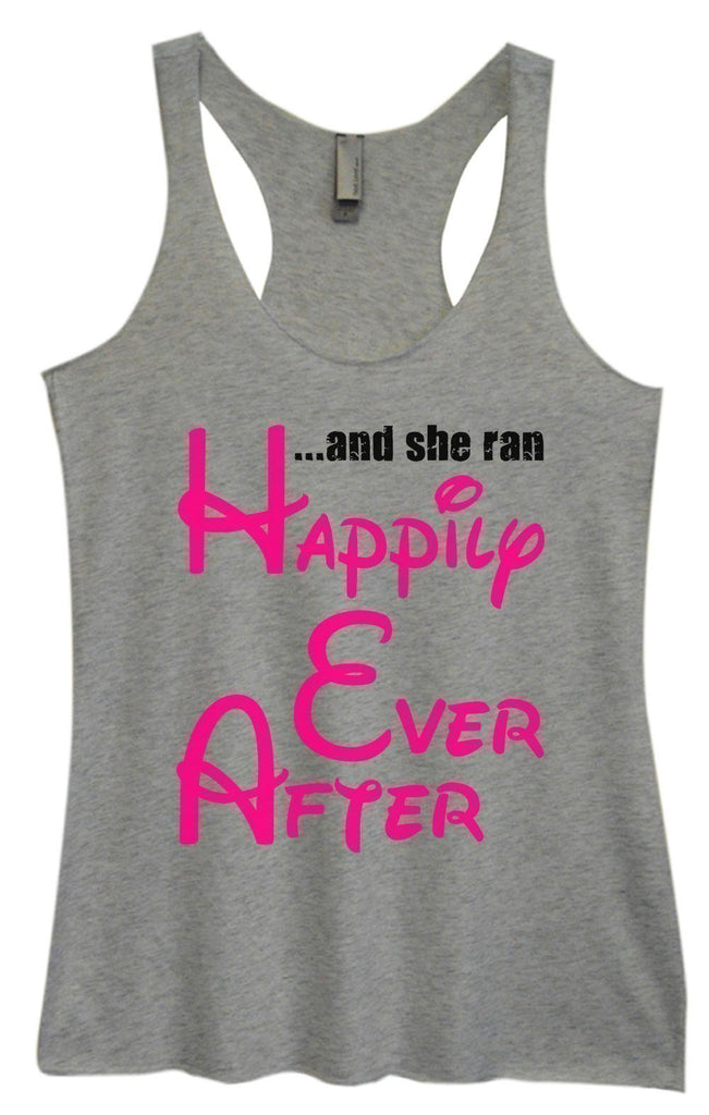 Womens Tri-Blend Tank Top - ...And She Ran Happily Ever After Funny Shirt Small / Vintage Grey