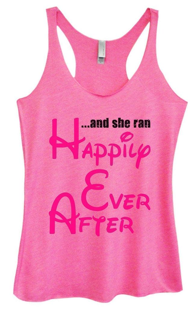 Womens Tri-Blend Tank Top - ...And She Ran Happily Ever After Funny Shirt Small / Vintage Pink